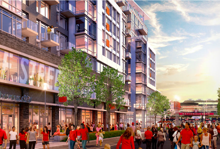 A rendering of the Half Street retail corridor outside of Jair Lynch's 1250 mixed-use development